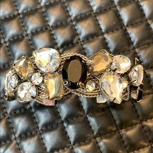Anthropology Silver Crystals Rhinestone Metal Cuff